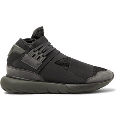 Y-3 Qasa Suede-Trimmed Mesh High-Top Sneakers