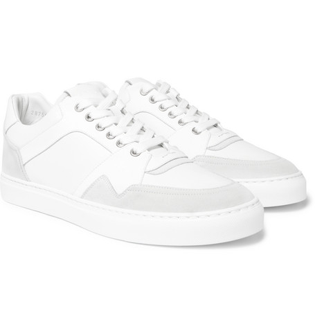 Galaxy Leather And Tech-suede Sneakers - White
