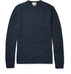 Hackett Suede-Trimmed Stretch Wool and Cashmere-Blend Sweater