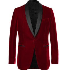 Berluti Red Satin-Trimmed Velvet Tuxedo Jacket