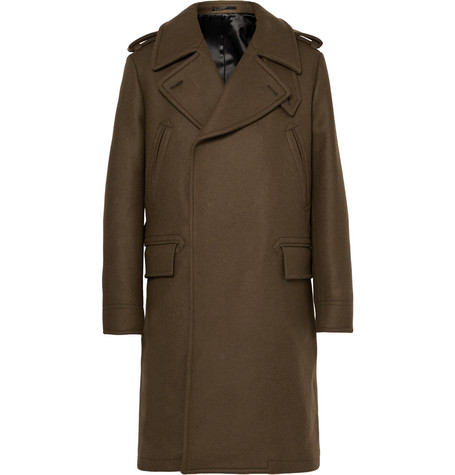 Double-breasted Virgin Wool And Angora-blend Coat - Brown