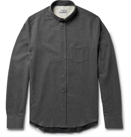 ACNE STUDIOS Isherwood Button-Down Collar Brushed-Cotton Twill Shirt, Dark  Gray