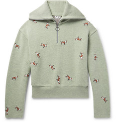 Acne Studios Nicolai Oversized Embroidered Merino Wool-Blend Half-Zip Sweater