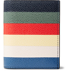 Thom Browne - Striped Pebble-Grain Leather Bifold Cardholder