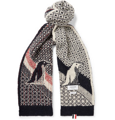 Thom Browne Penguin-Intarsia Wool and Mohair-Blend Scarf