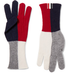 Thom Browne - Colour-Block Merino Wool Gloves