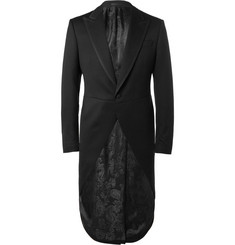 Favourbrook Black Bedford Slim-Fit Faille-Trimmed Textured-Wool Morning Coat