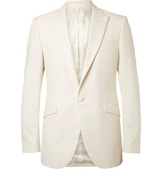 Favourbrook White Theobald Herringbone Cotton Tuxedo Jacket
