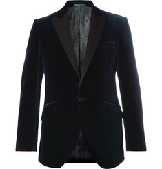 Favourbrook - Midnight-Blue Slim-Fit Faille-Trimmed Cotton-Velvet Tuxedo Jacket