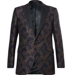 Favourbrook - Navy Slim-Fit Grosgrain-Trimmed Jacquard Tuxedo Jacket