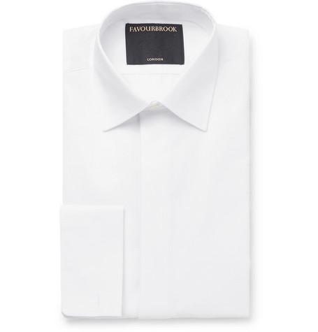 FAVOURBROOK White Slim-Fit Bib-Front Double-Cuff Cotton Tuxedo Shirt