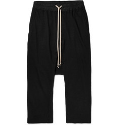 Rick Owens DRKSHDW Cropped Cotton-Jersey Drawstring Trousers