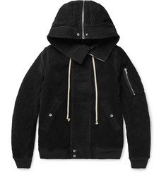 Rick Owens Oversized Cotton-Moleskin Hooded Bomber Jacket