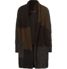 Isabel Benenato Colour-Block Panelled Merino Wool-Blend Cardigan