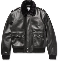 Loewe Shearling-Trimmed Leather Bomber Jacket