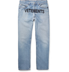 Vetements + Levi's Embroidered Distressed Denim Jeans