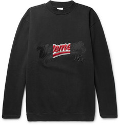 Vetements - Embroidered Loopback Cotton-Blend Jersey Sweatshirt