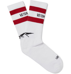 Vetements + Reebok Ribbed Striped Cotton-Blend Socks