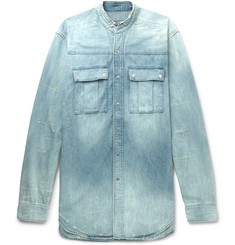 Balmain Slim-Fit Grandad-Collar Distressed Denim Shirt