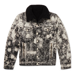 Balmain Faux Shearling-Lined Acid-Washed Denim Jacket