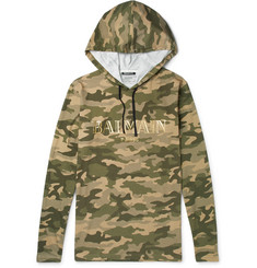 Balmain Camouflage-Print Cotton-Jersey Hoodie