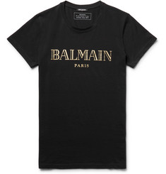 Balmain - Printed Cotton-Jersey T-Shirt