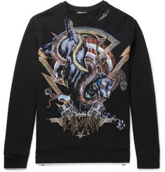 Balmain - Printed Embroidered Fleece-Back Cotton-Jersey Sweatshirt