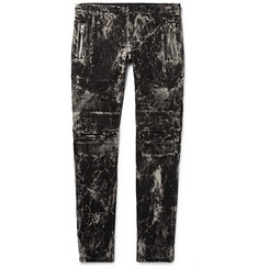 Balmain Slim-Fit Acid-Washed Stretch-Denim Biker Jeans