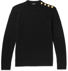 Balmain Button-Detailed Ribbed Wool Sweater
