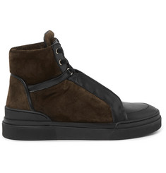 Balmain Atlas Suede and Leather High-Top Sneakers