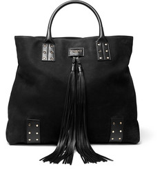 Balmain - Domaine Leather-Trimmed Nubuck Tote Bag