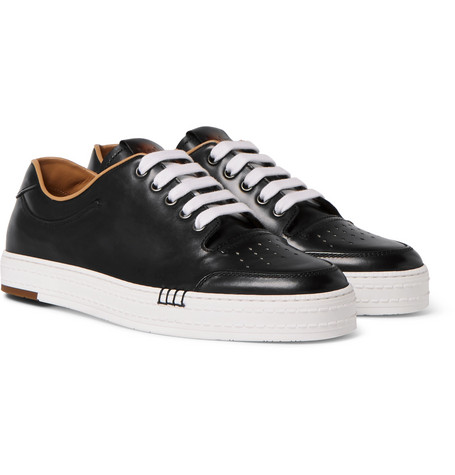 Playtime Polished-leather Sneakers - Black