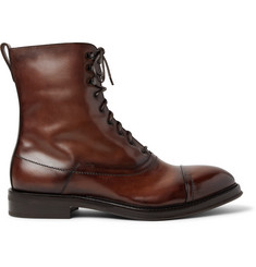 Berluti Shearling-Lined Polished-Leather Boots