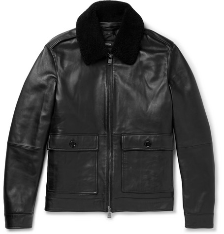 Graven Shearling-trimmed Leather Bomber Jacket - Black