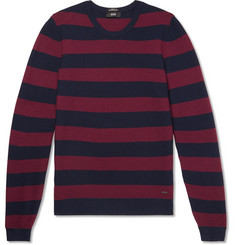 Hugo Boss Striped Waffle-Knit Virgin Wool Sweater