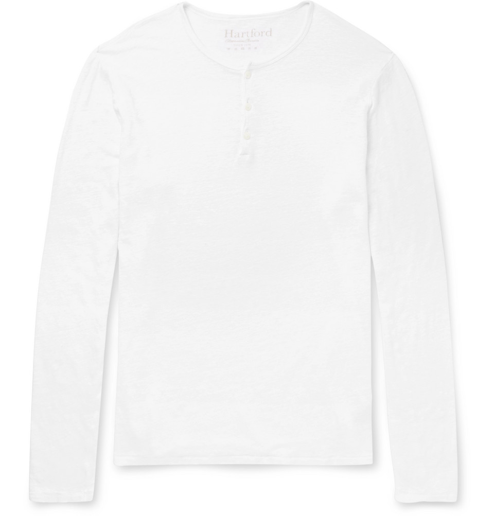 Slub Linen-jersey Henley T-shirt - White
