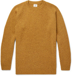 Kent & Curwen Ribbed Mélange Camel Hair Sweater
