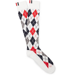 Thom Browne - Argyle Intarsia Cotton-Blend Over-The-Calf Socks