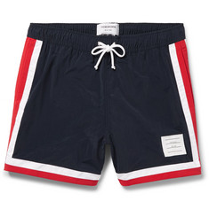 Thom Browne - Mid-Length Stripe-Trimmed Swim Shorts