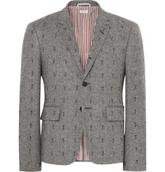 Thom Browne Grey Slim-Fit Embroidered Herringbone Wool Blazer