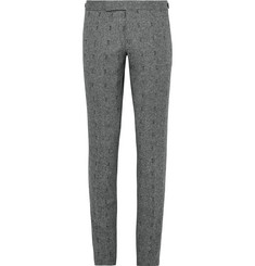 Thom Browne Slim-Fit Embroidered Herringbone Wool Trousers