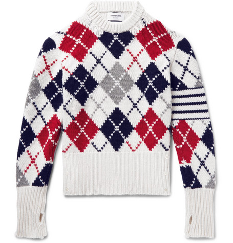 Thom Browne Crewneck Pullover With Argyle Intarsia And White 4
