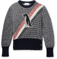 Thom Browne Penguin Intarsia Wool and Mohair-Blend Sweater