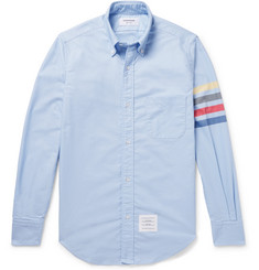 Thom Browne Button-Down Collar Striped Cotton Oxford Shirt