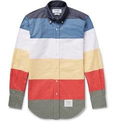 Thom Browne Slim-Fit Colour-Block Button-Down Collar Cotton Oxford Shirt
