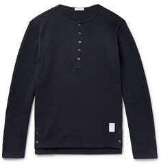 Thom Browne Honeycomb-Knit Cotton Henley T-Shirt