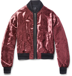 Haider Ackermann Crushed-Velvet Bomber Jacket