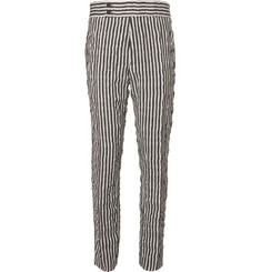 Haider Ackermann Slim-Fit Tapered Striped Wool and Cotton-Blend Twill Trousers