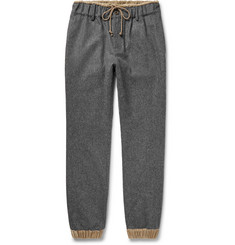 Sacai Slim-Fit Tapered Velour-Trimmed Melton Wool Trousers