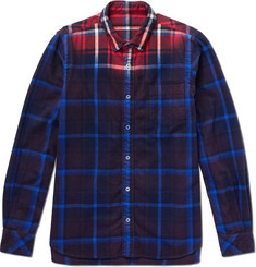 Sacai Dip-Dyed Checked Cotton-Flannel Shirt